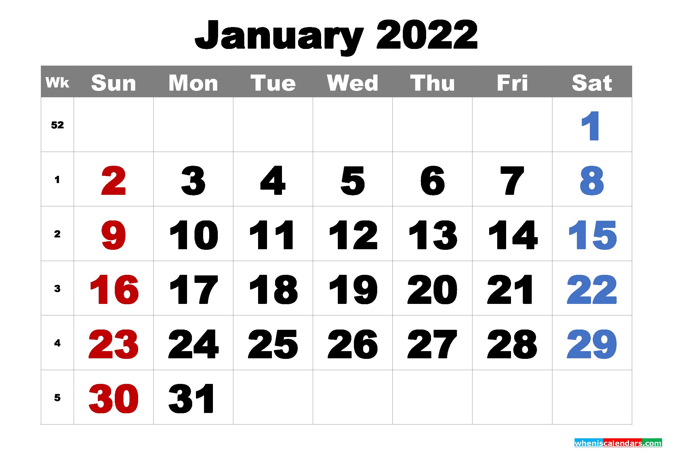 Free Printable January 2022 Calendar Word, Pdf, Image inside January Calendar 2022 Printable