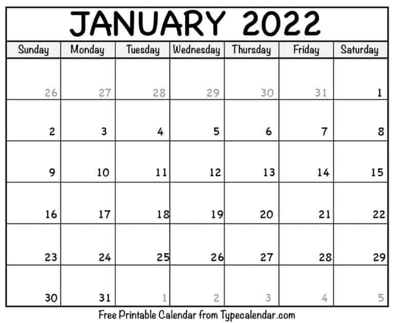 Free Printable January 2022 Calendars With Regard To Blank January 2022 Calendar