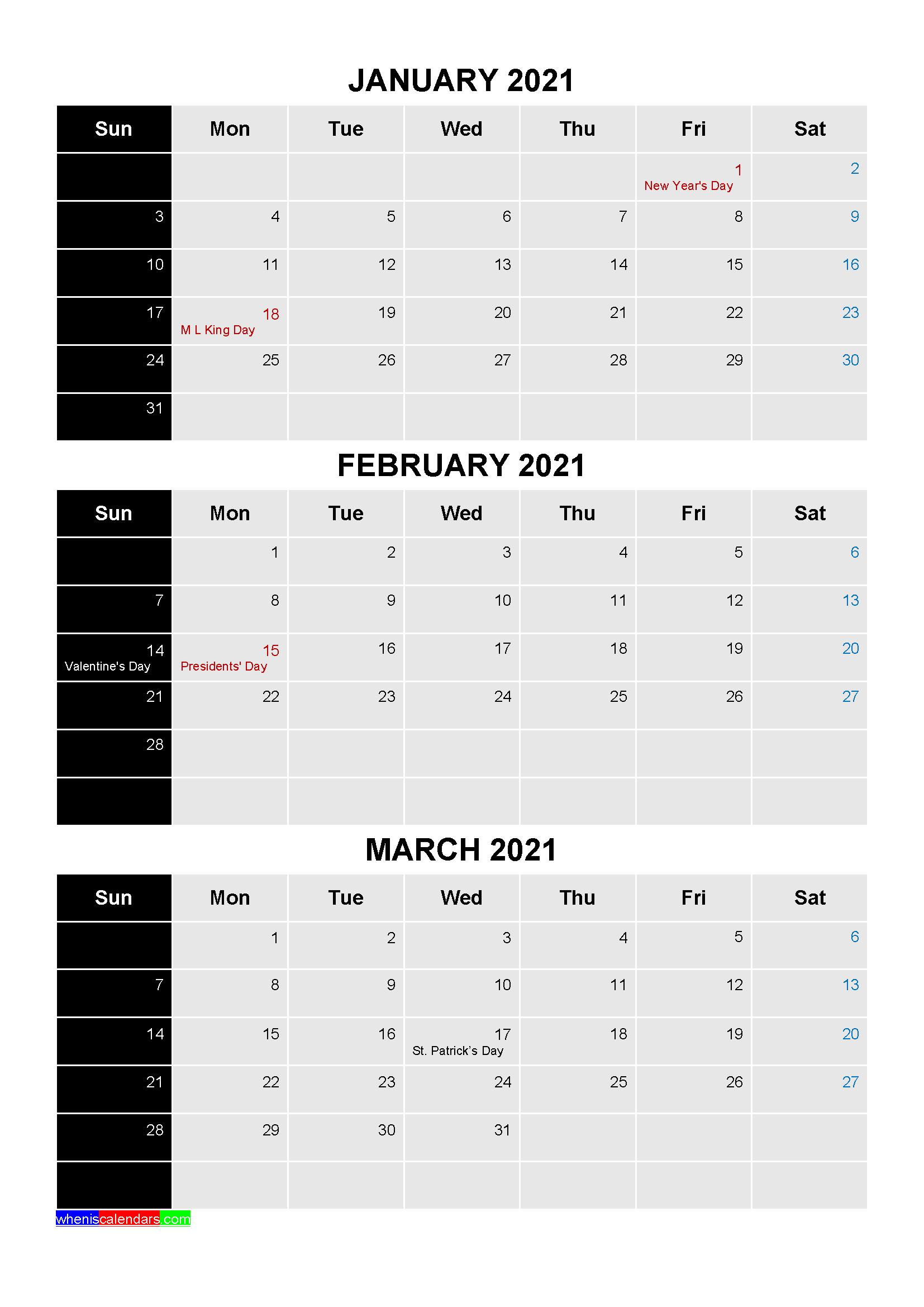 Free Printable January February March 2021 Calendar With With January February March 2021 Calendar