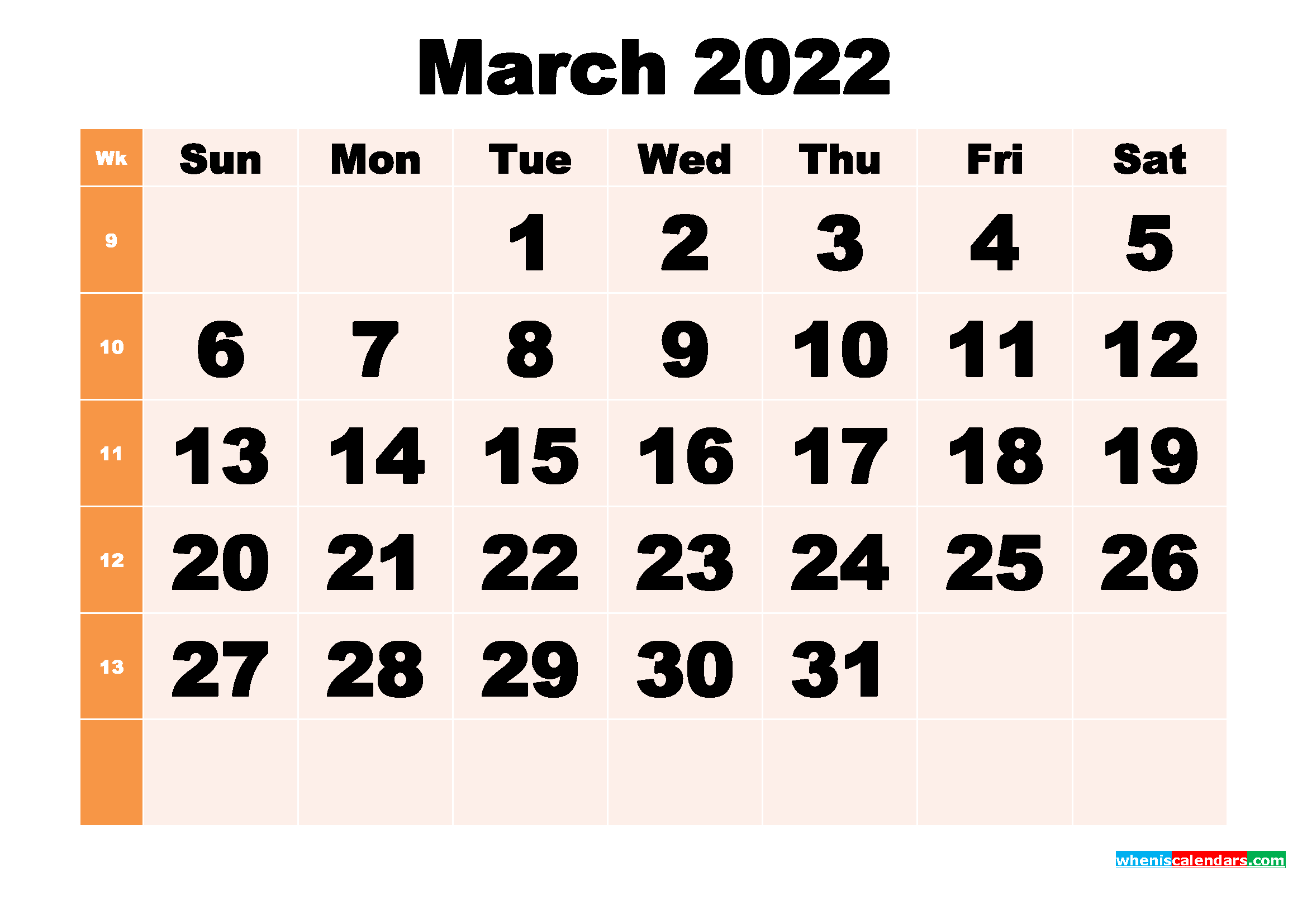 Free Printable March 2022 Calendar Template Word, Pdf Intended For Calendar For March 2022