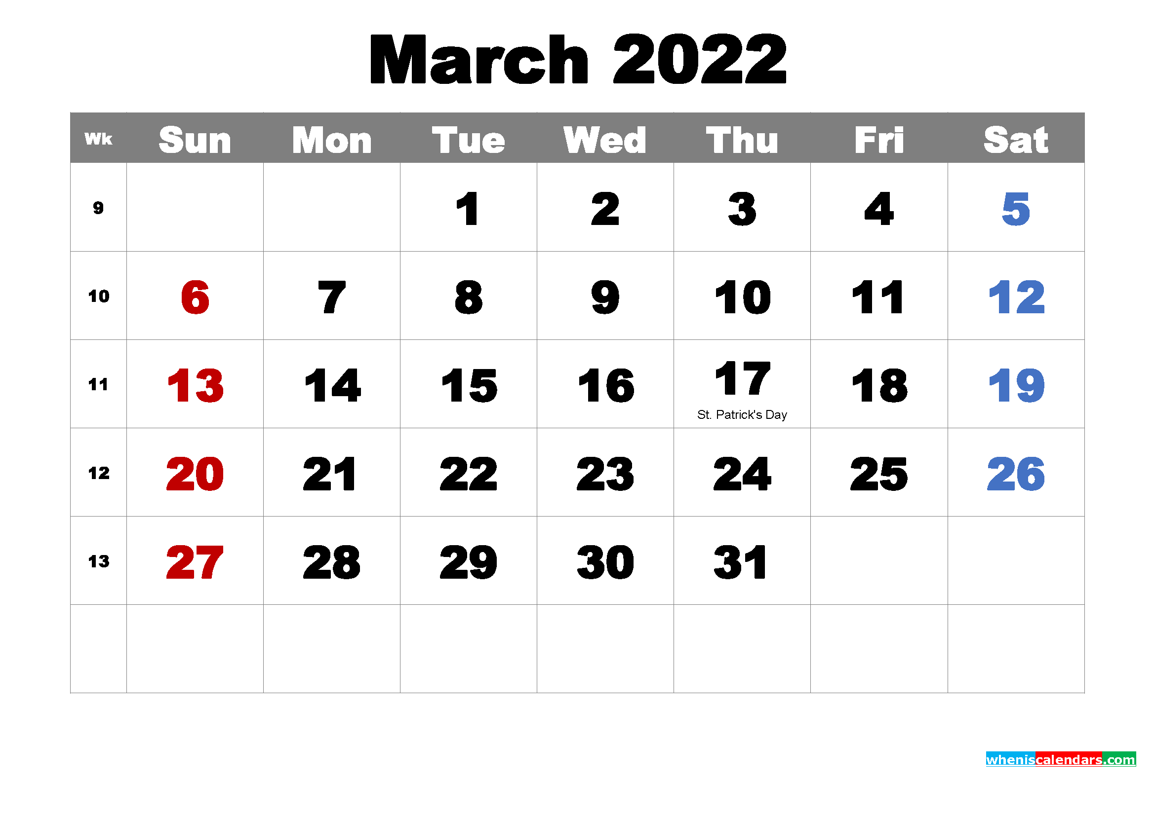 Free Printable March 2022 Calendar With Holidays As Word, Pdf In March April 2022 Calendar Print