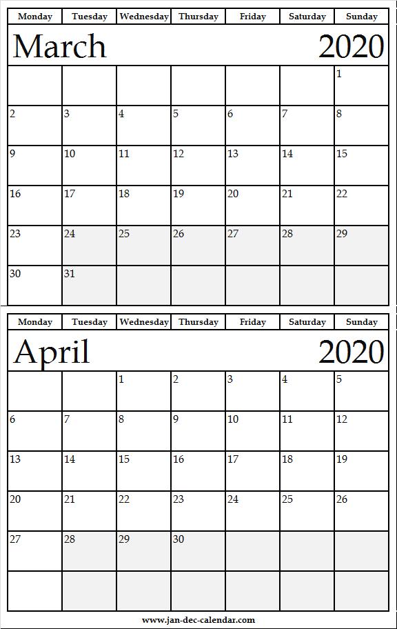 Free Printable March April 2020 Calendar Cute | Fresh Calendar pertaining to March April Calendar Printable