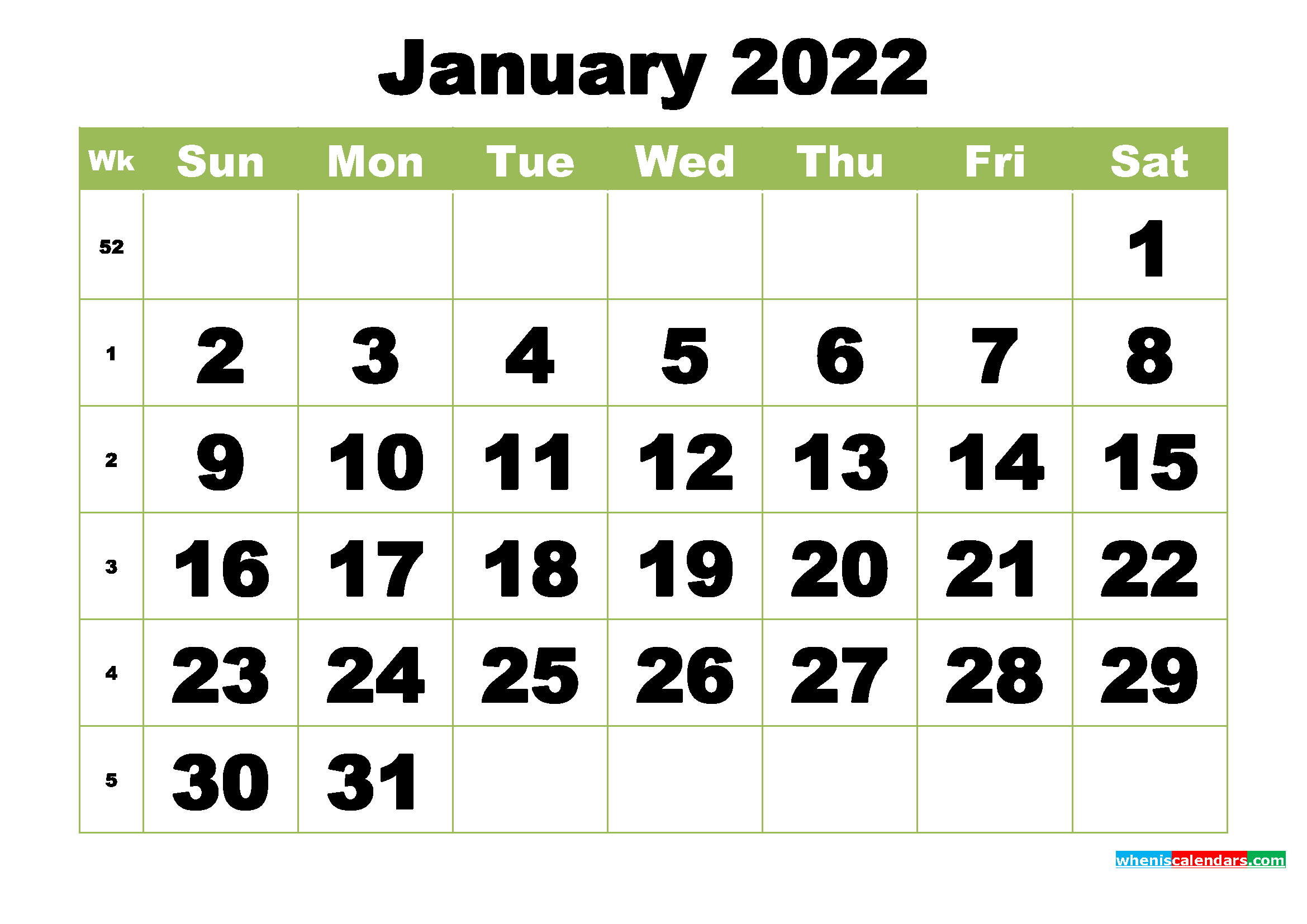 Free Printable Monthly Calendar January 2022 – Free Intended For Calendar Of January 2022