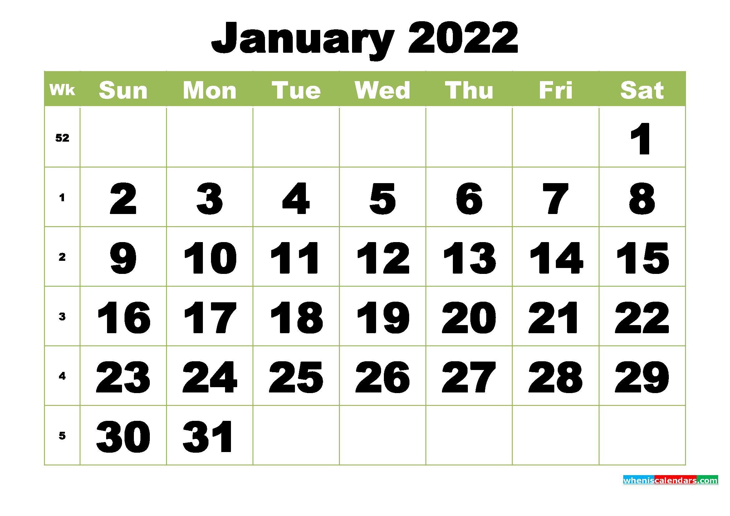 Free Printable Monthly Calendar January 2022 – Free Regarding Printable January 2022 Calendar