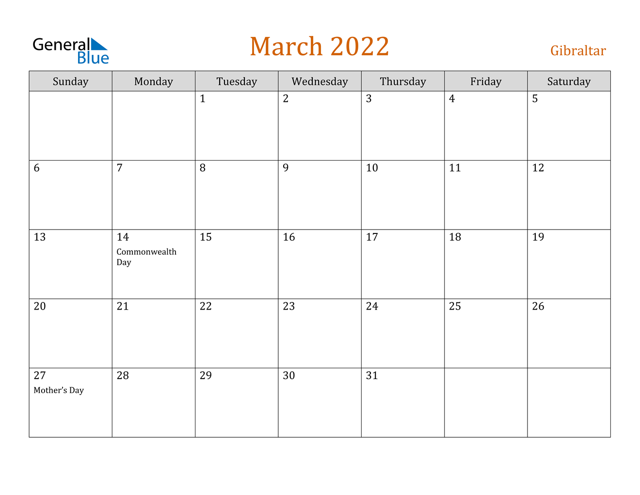 Gibraltar March 2022 Calendar With Holidays Inside 2022 March 2 Page Printable Calendar