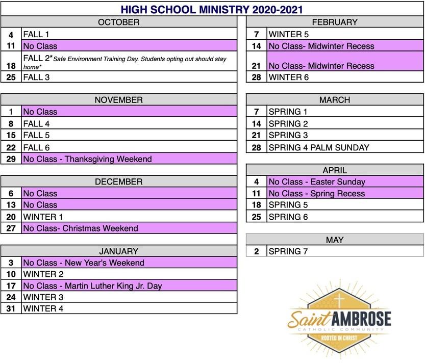 High School Ministry - St. Ambrose Catholic Church Within Uri Academic Calendar 2022