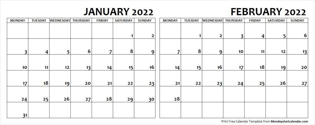Jan Feb 2022 Calendar Monday Start   Editable Two Months With Regard To February 2022 Calendar Monday Start