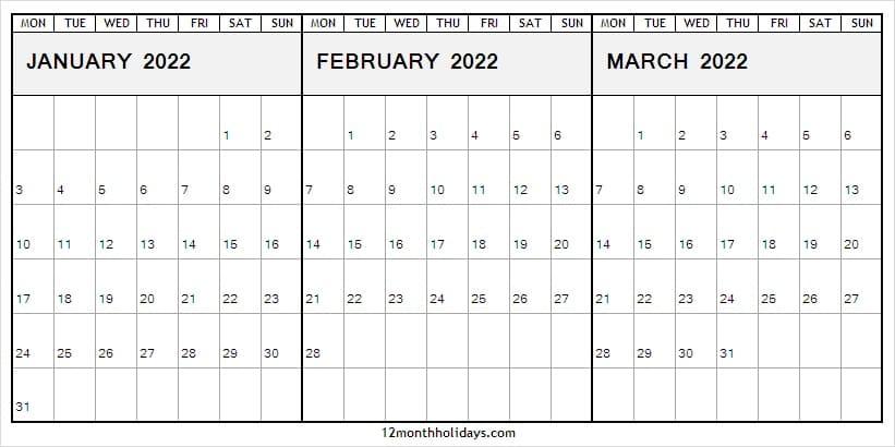 Jan To Mar 2022 Calendar Monday Start | Free Editable 2022 Pertaining To January 2022 Calendar Monday Start