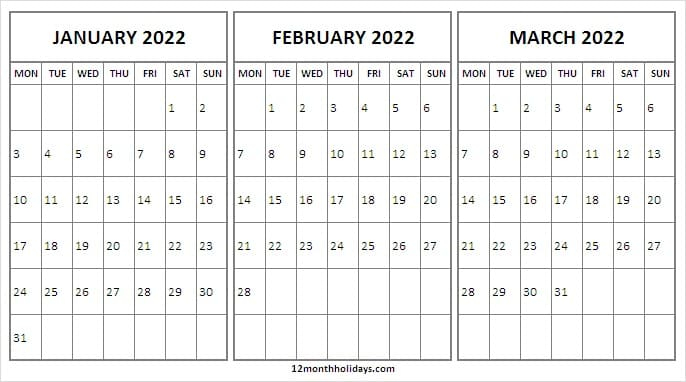 Jan To Mar 2022 Calendar Monday Start | Free Editable 2022 throughout January 2022 Calendar Monday Start