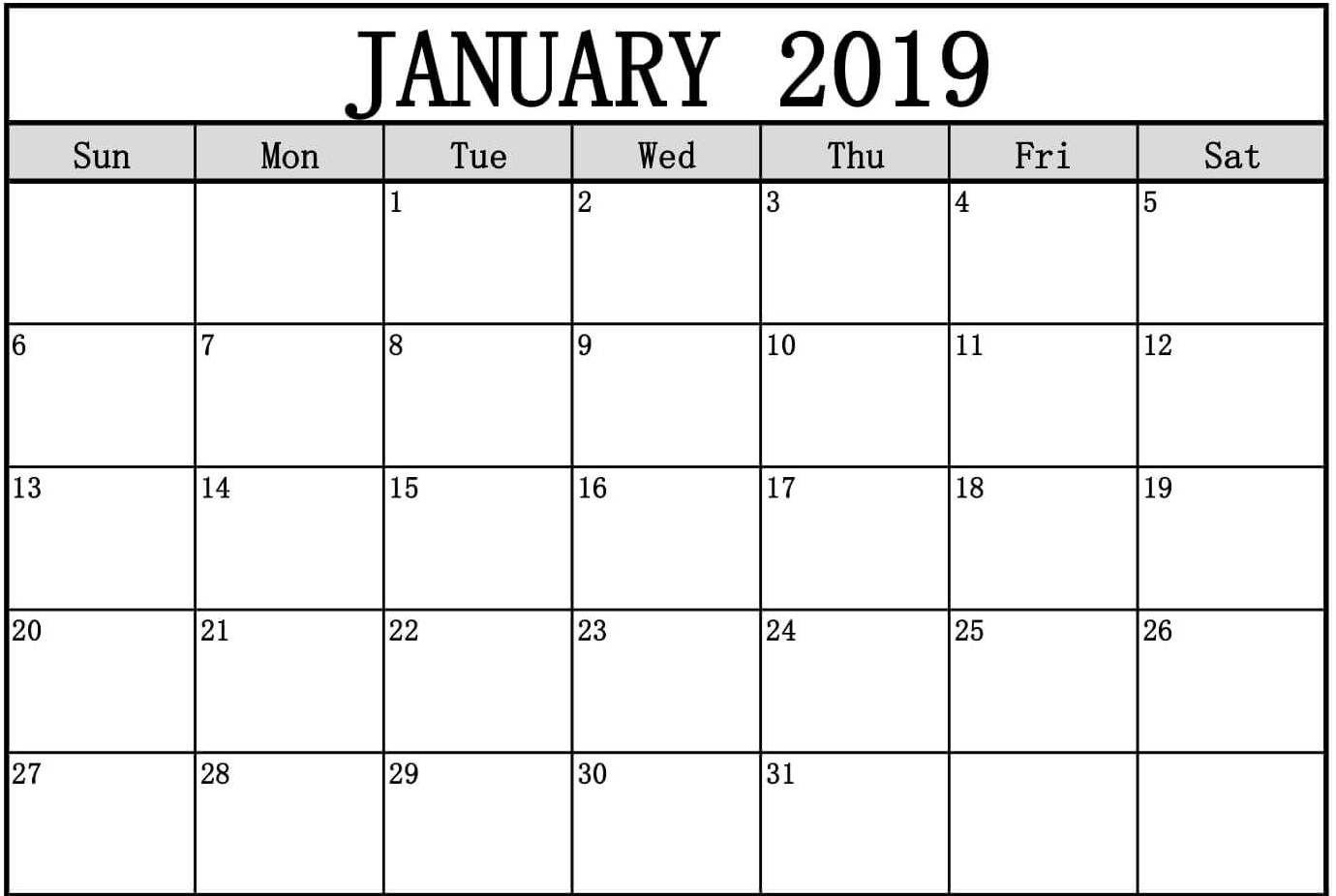 January 2019 Calendar Page To Print #Januarycalendar2019 # With Full Page January Calendar