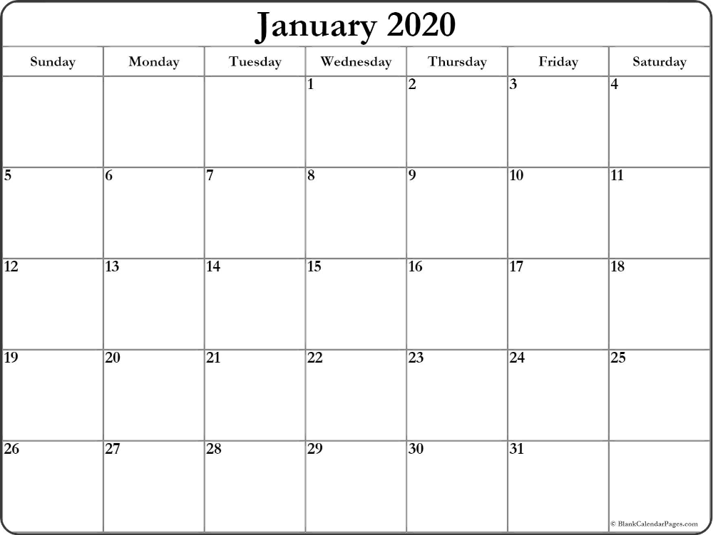 January 2020 Calendar | Free Printable Monthly Calendars Throughout Full Page January Calendar