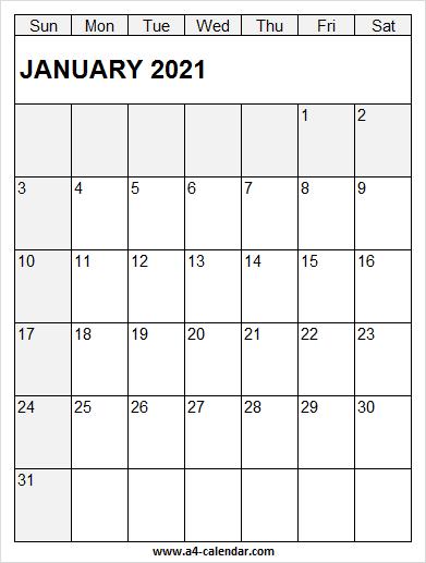 January 2021 Calendar Vertical – A4 Calendar Inside View January 2021 Calendar