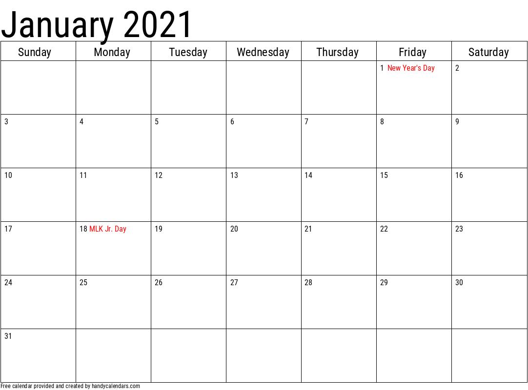 January 2021 Printable Calendar Inside January 2022 Calendar Large Font