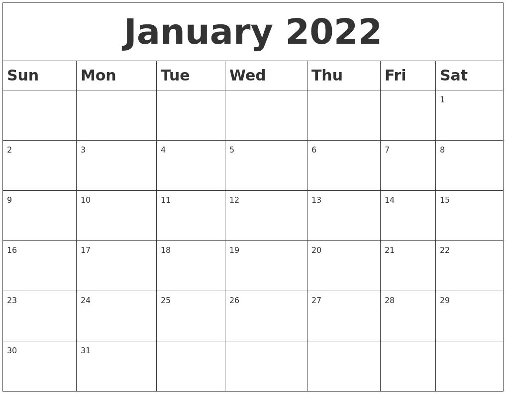 January 2022 Blank Calendar Intended For Printable Calendar January 2022