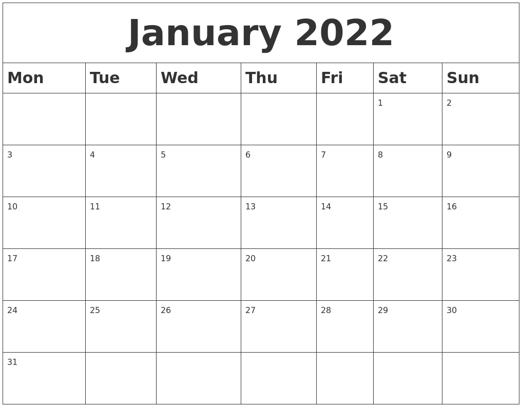 January 2022 Blank Calendar With Regard To 2022 January Calendar With Holidays