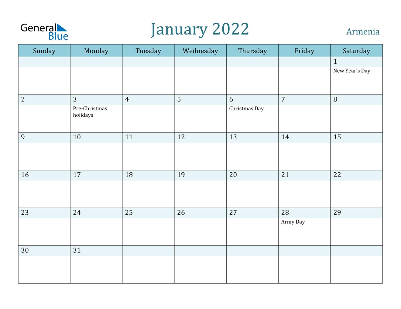 January 2022 Calendar - Armenia For Monthly Calendar January 2022
