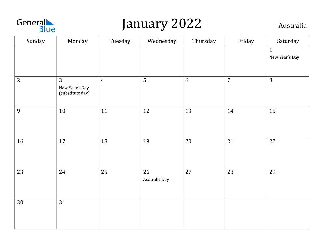January 2022 Calendar – Australia For January Calendar 2022 Printable