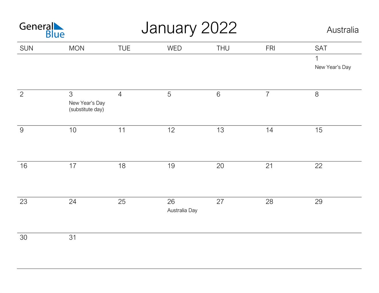 January 2022 Calendar – Australia In Januarycalendar 2022 With Holidays