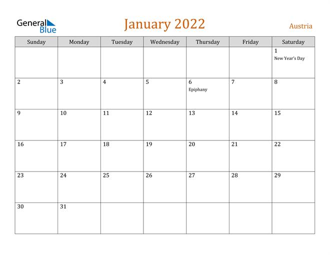 January 2022 Calendar - Austria For Monthly Calendar January 2022
