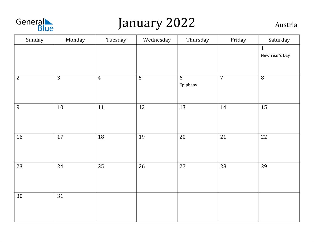 January 2022 Calendar - Austria Intended For Free Printable Calendar January 2022 With Holidays