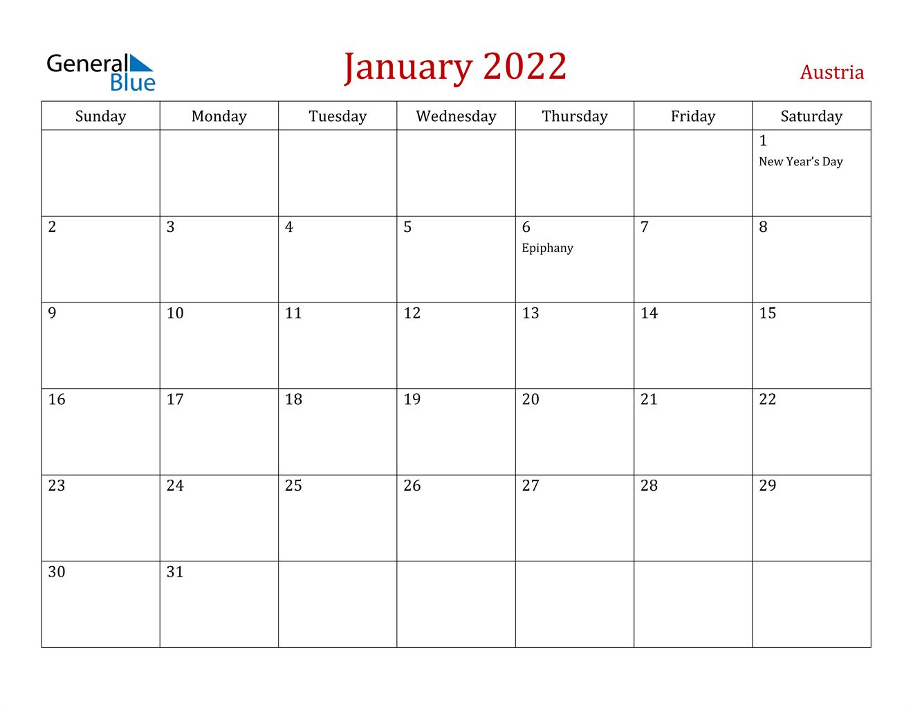 January 2022 Calendar – Austria Regarding Landscape Calendar January 2022