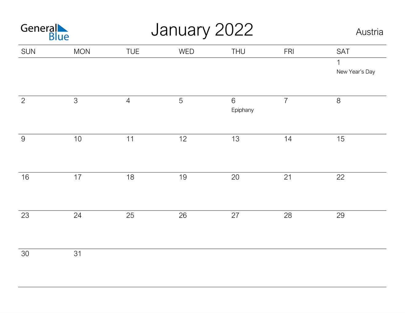 January 2022 Calendar – Austria With January Printable Calendar 2022