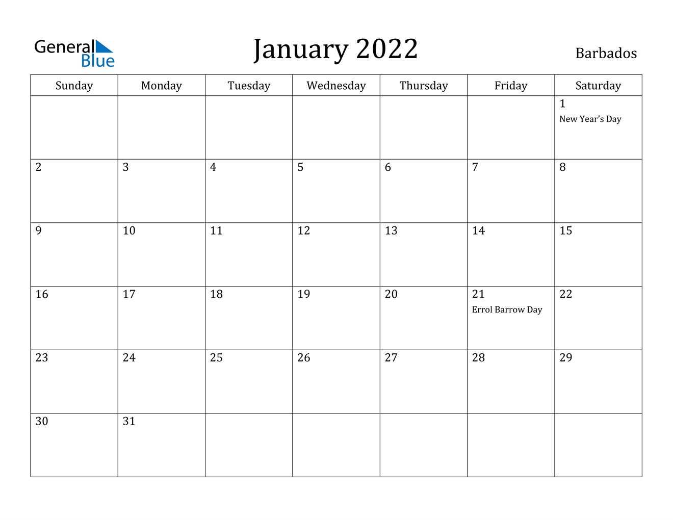 January 2022 Calendar - Barbados Regarding 2022 January Calendar With Holidays