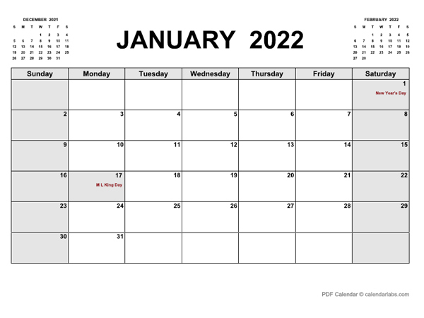 January 2022 Calendar | Calendarlabs In January 2022 Printable Calendar Cute