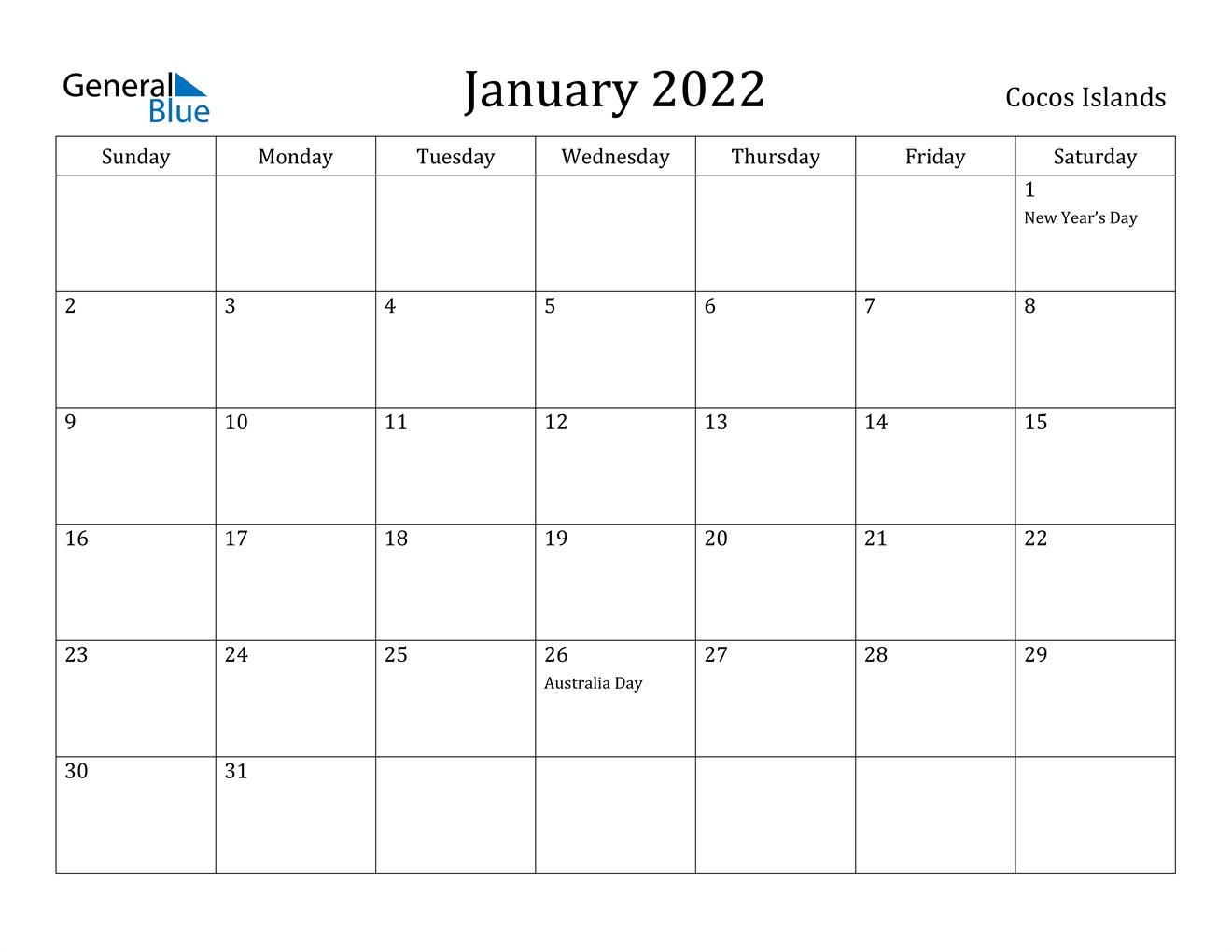 January 2022 Calendar - Cocos Islands for Printable Calendar October 2022 To January 2022