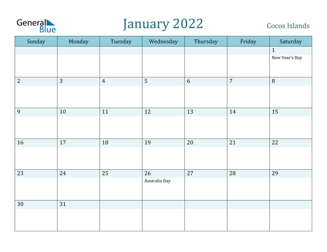 January 2022 Calendar - Cocos Islands Inside Blank January 2022 Calendar