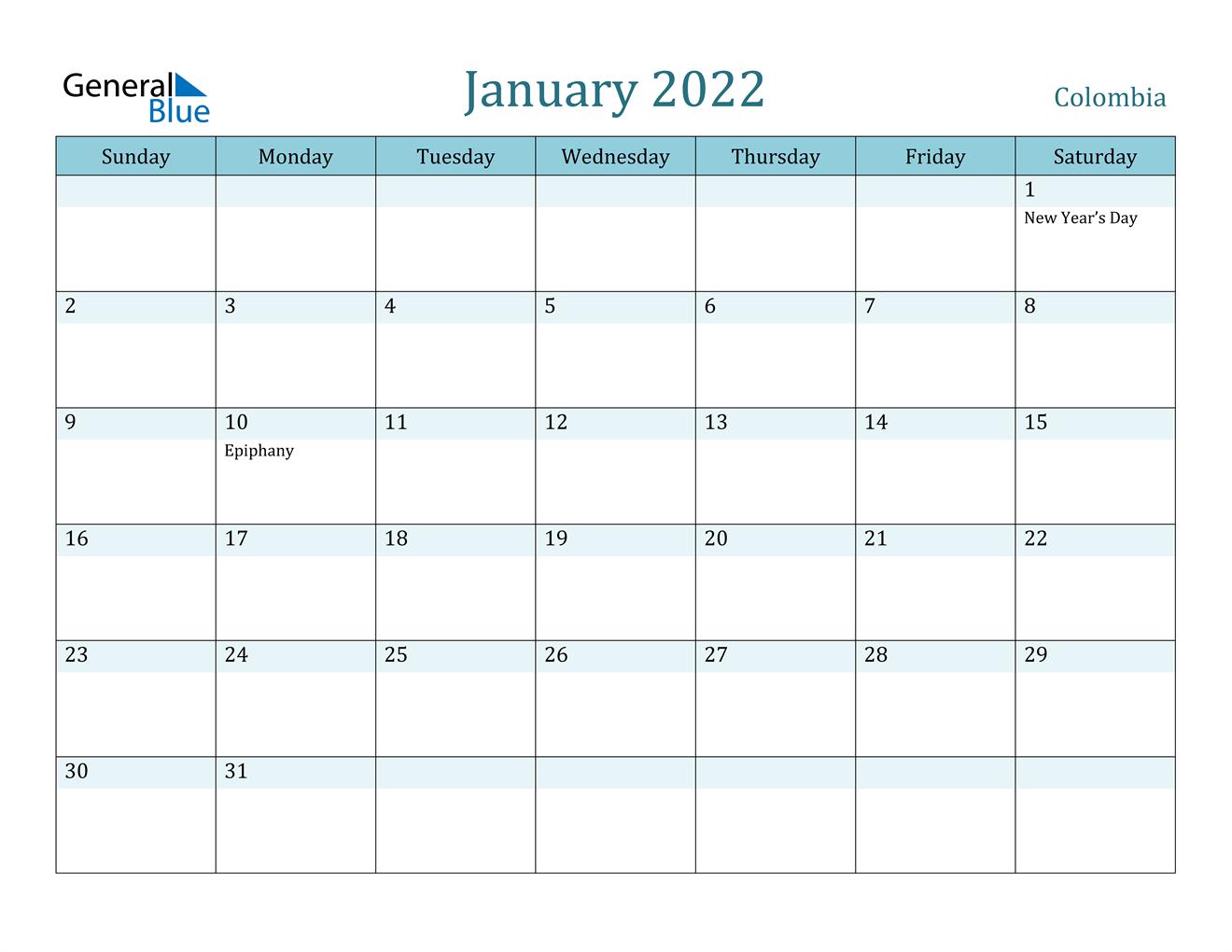 January 2022 Calendar - Colombia For January 2022 Calendar Template