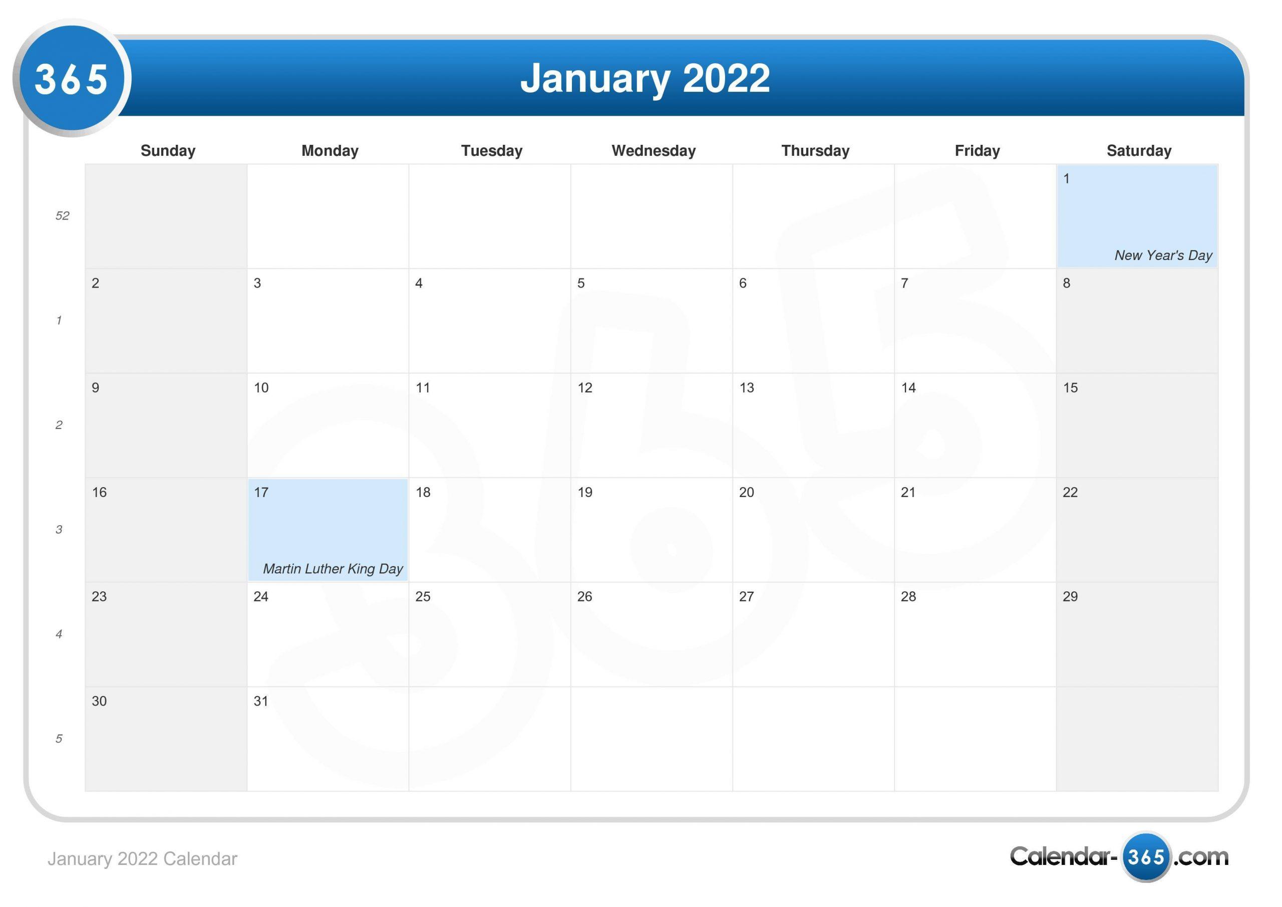 January 2022 Calendar For January Calendar 2022 Full Page