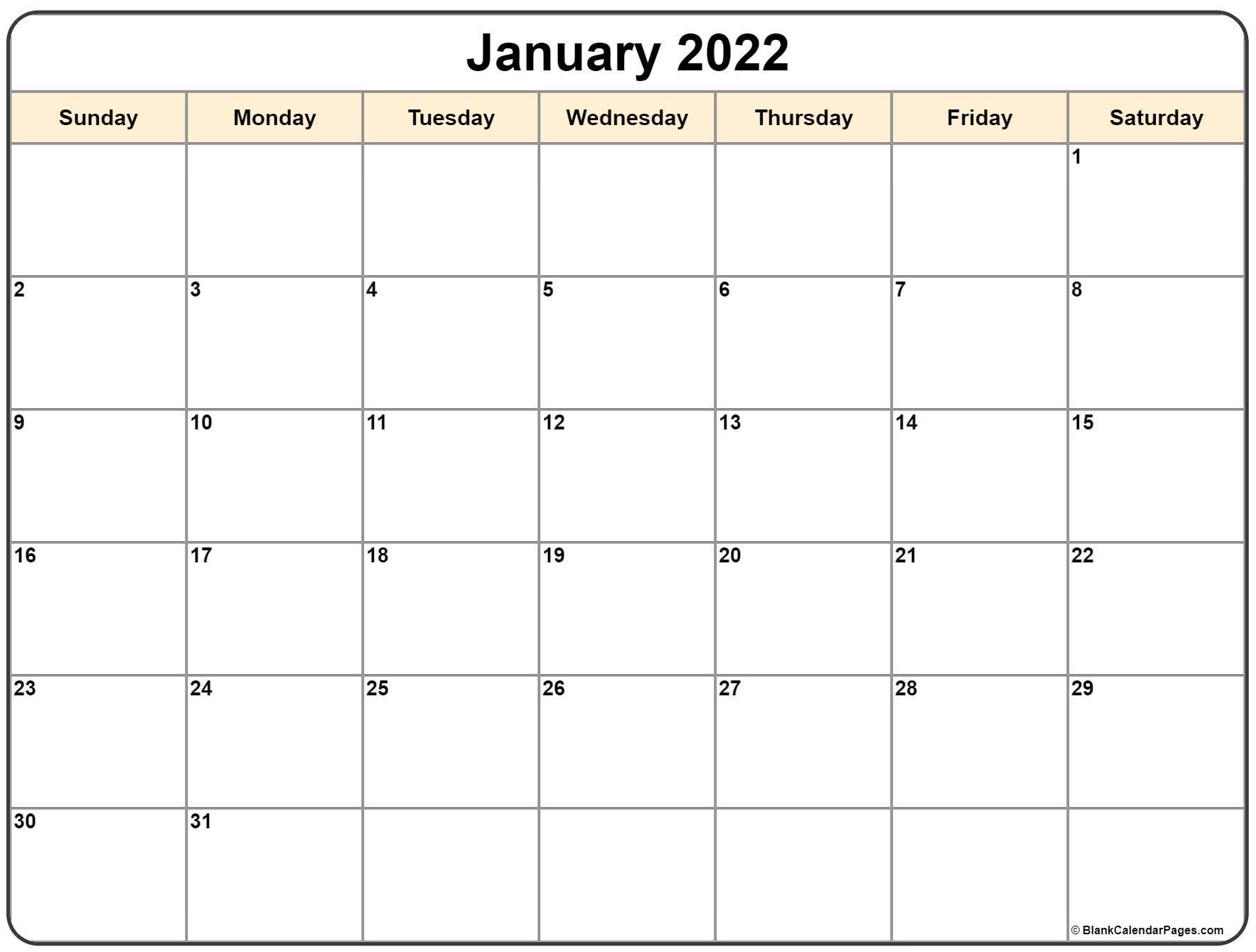 January 2022 Calendar | Free Printable Monthly Calendars With January2022 Printable Calendar Cute