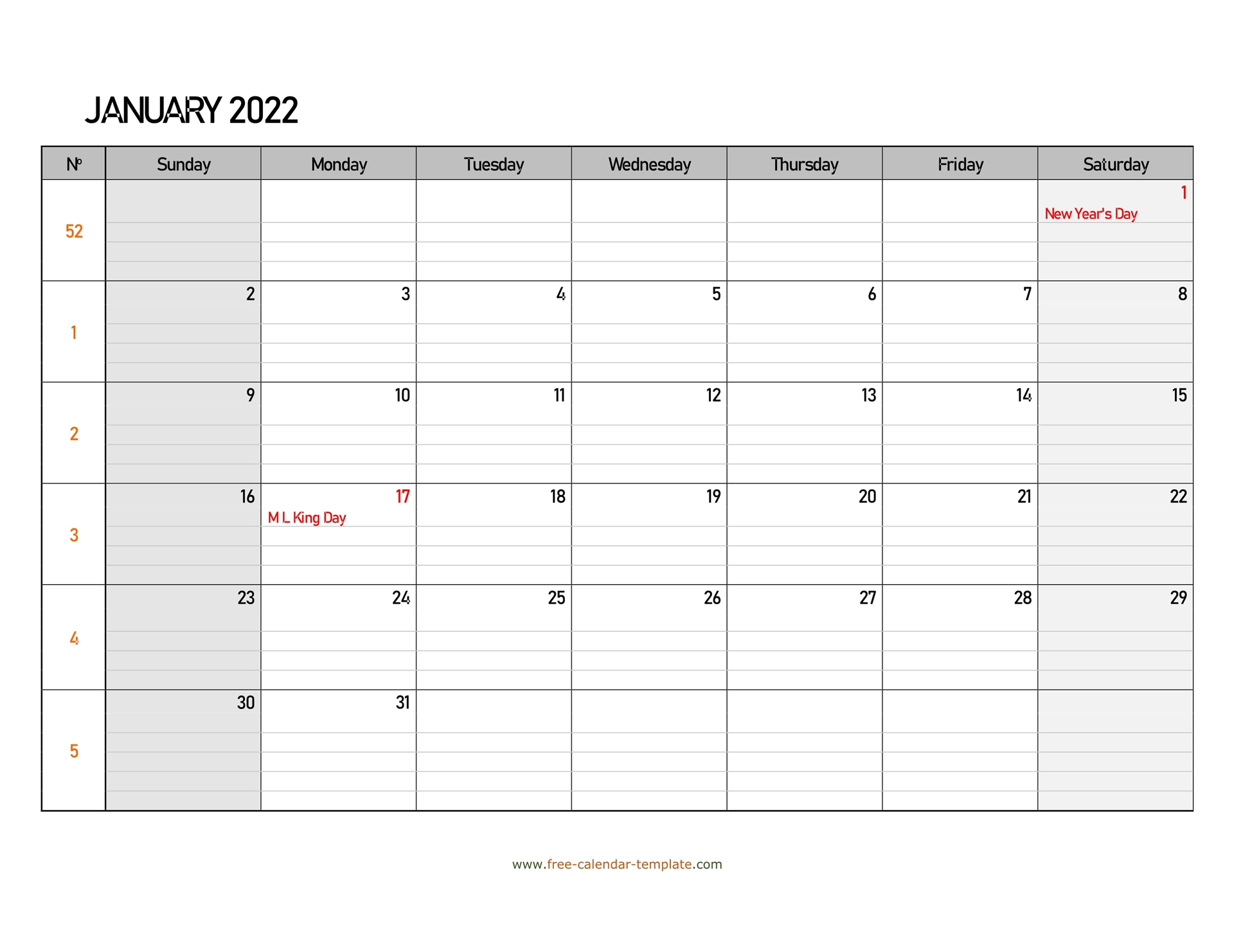 January 2022 Calendar Free Printable With Grid Lines Within Printable January 2022 Calendar