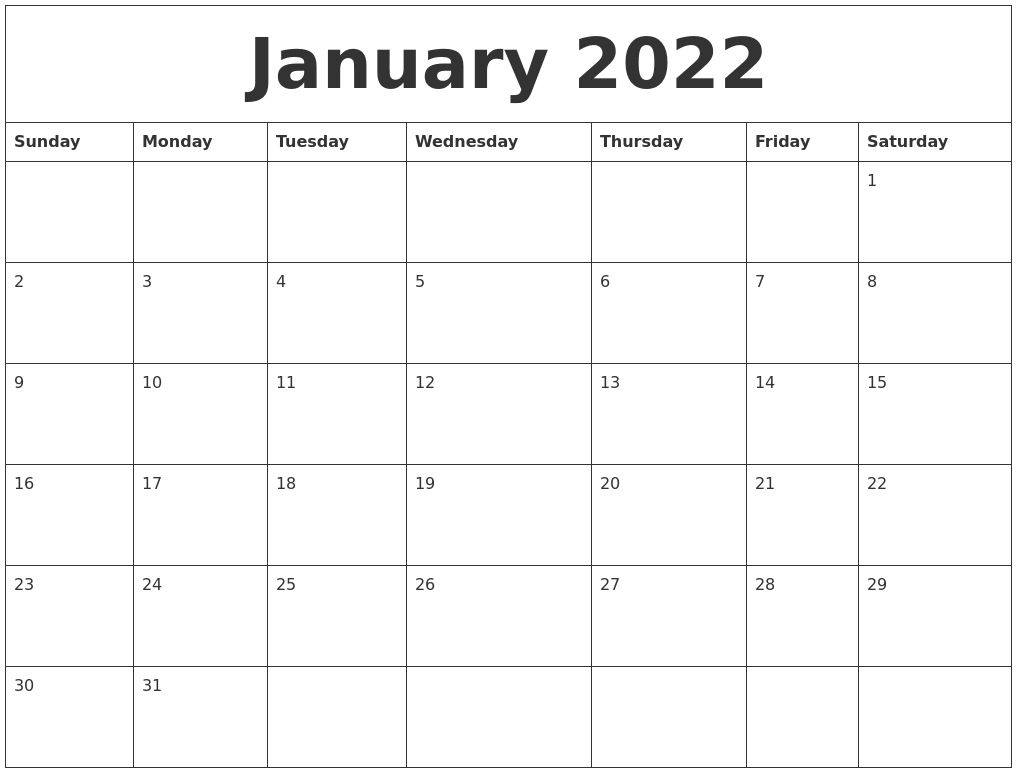 January 2022 Calendar Free Printable Within Images Of January 2022 Calendar
