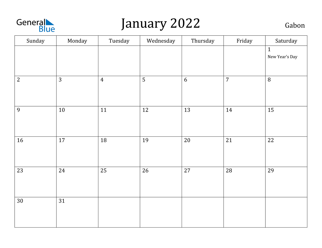 January 2022 Calendar – Gabon In January 2022 Printable Calendar