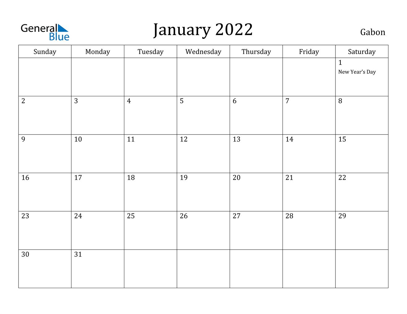 January 2022 Calendar - Gabon Regarding January 2022 Calendar Template