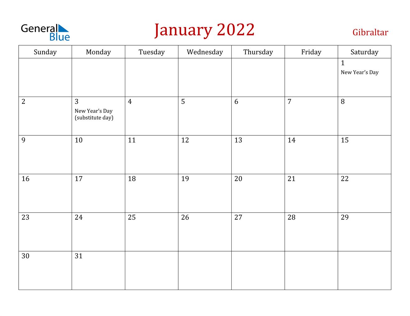 January 2022 Calendar – Gibraltar Intended For January Printable Calendar 2022