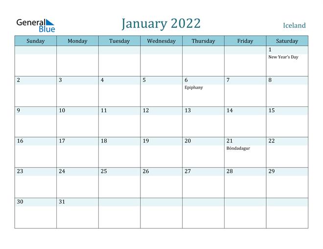 January 2022 Calendar – Iceland With Full Page January 2022 Calendar