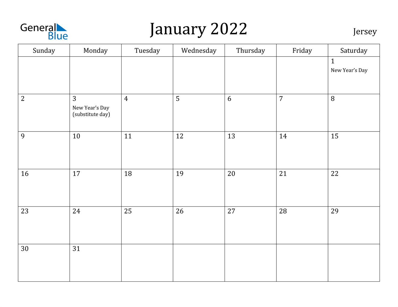 January 2022 Calendar – Jersey Intended For Monthly Calendar 2022 January