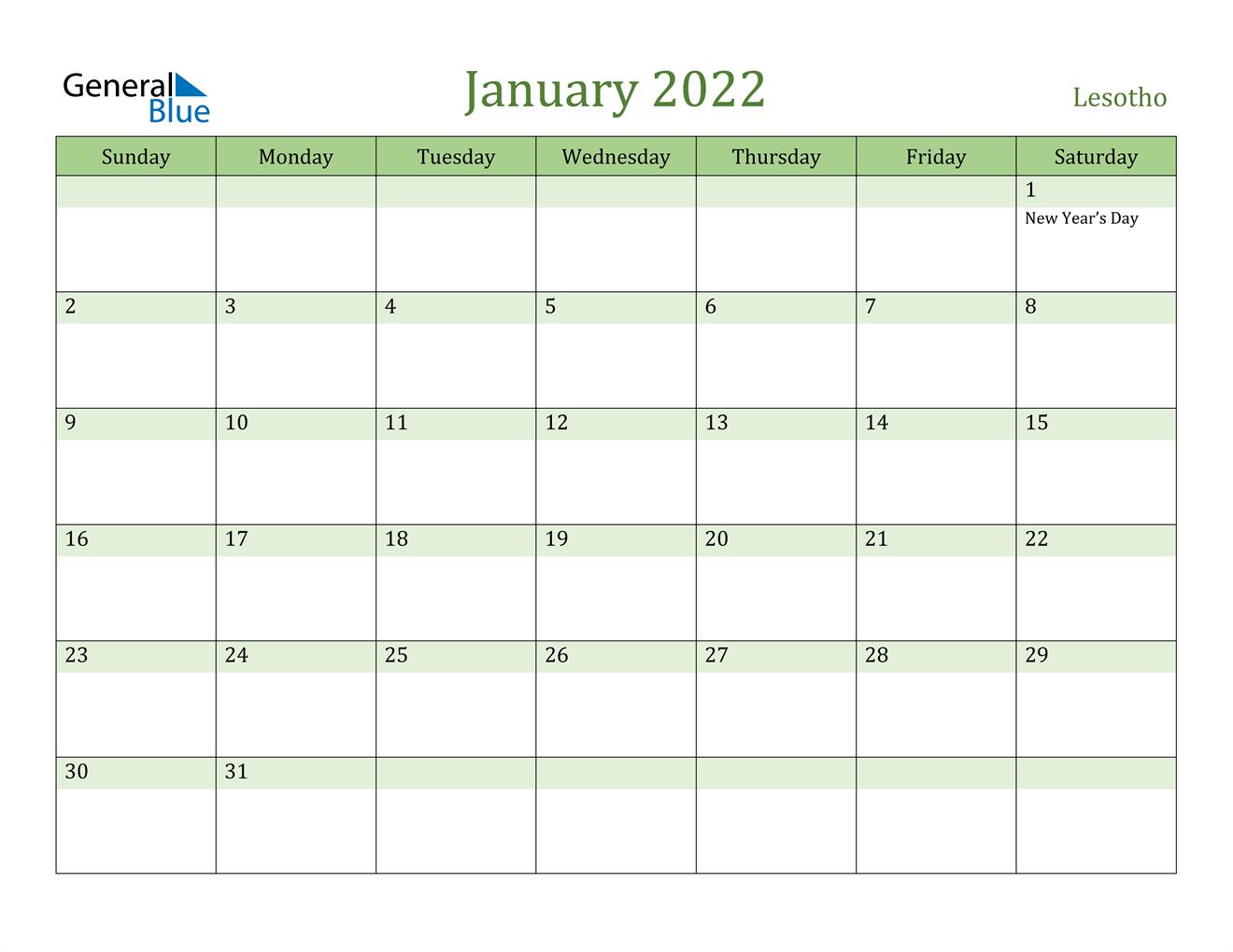 January 2022 Calendar – Lesotho Throughout January Printable Calendar 2022