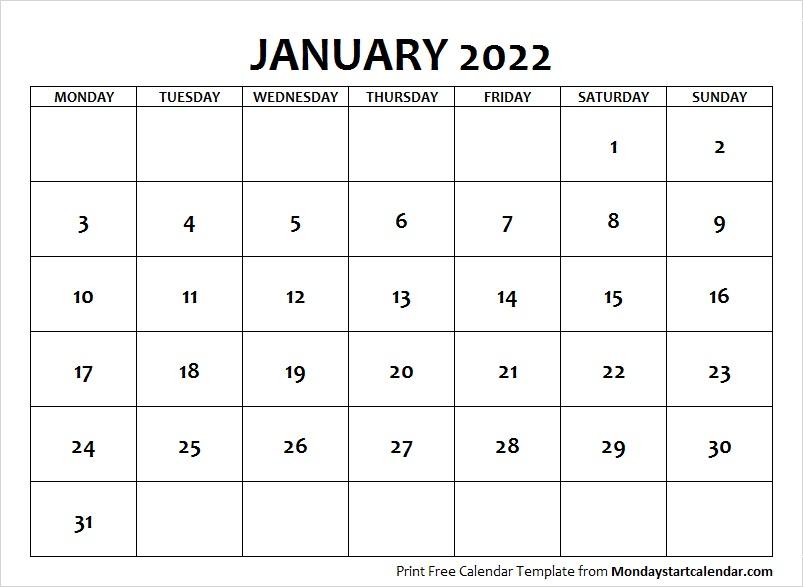 January 2022 Calendar Monday Start | January Month Template With Empty January 2022 Calendar
