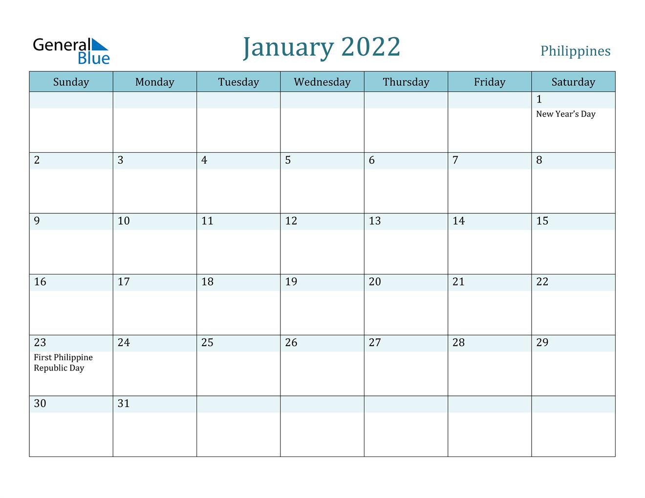 January 2022 Calendar - Philippines Intended For Printable Calendar January 2022