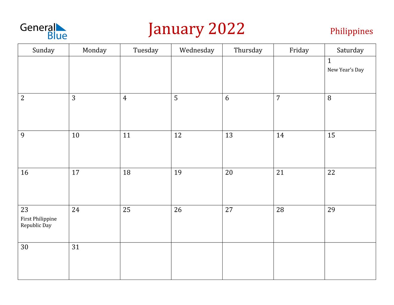 January 2022 Calendar – Philippines Within Blank Calendar January 2022 Printable