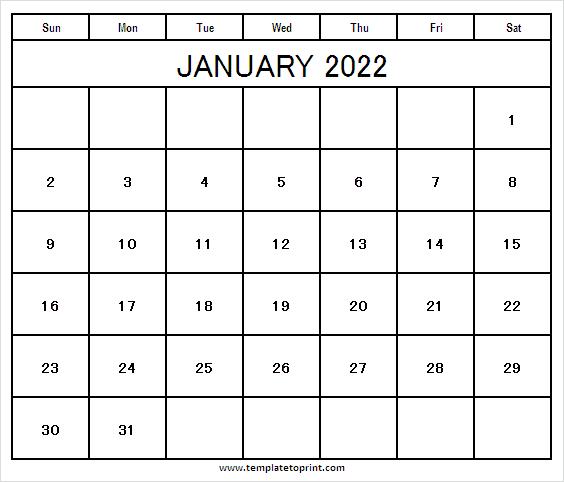 January 2022 Calendar Print – 2022 Blank Calendar Regarding January 2022 Printable Calendar Cute