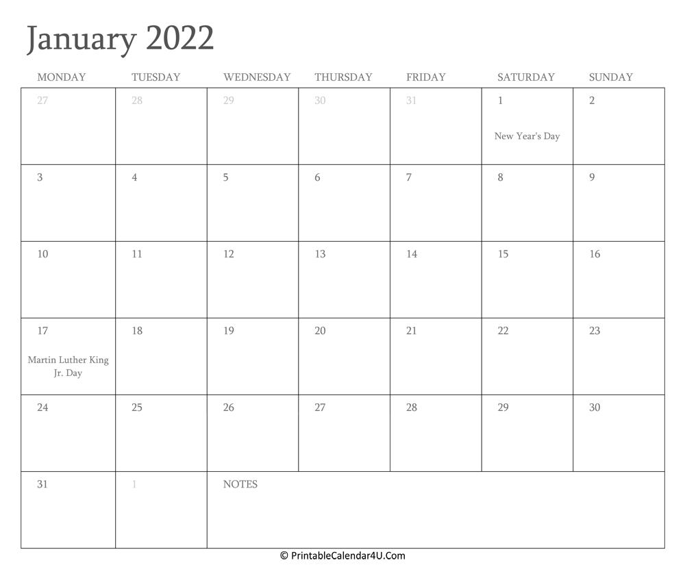 January 2022 Calendar Printable With Holidays In Landscape Calendar January 2022