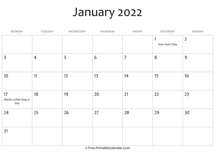 January 2022 Calendar Printable With Holidays Inside Empty Calendar January 2022