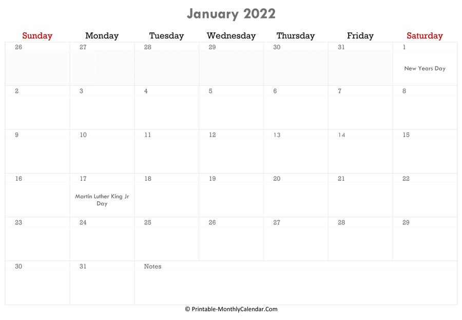 January 2022 Calendar Printable With Holidays Pertaining To 2022 January Calendar With Holidays