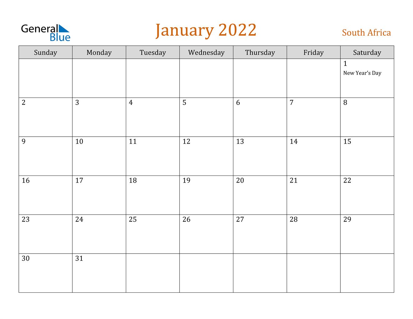 January 2022 Calendar – South Africa For Calendar Of January 2022