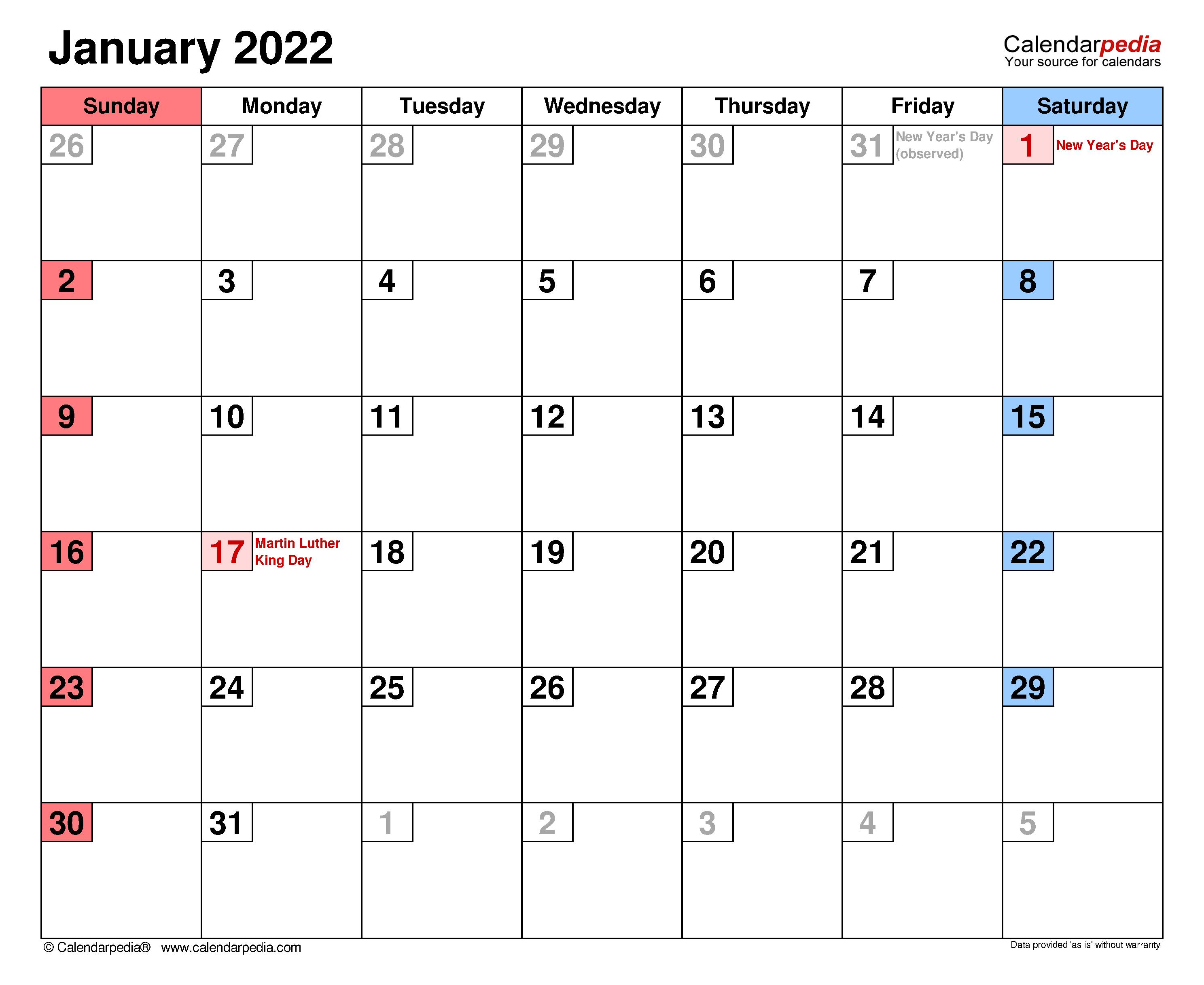 January 2022 Calendar | Templates For Word, Excel And Pdf Regarding Empty Calendar January 2022